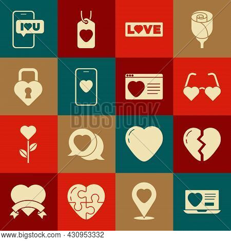 Set Dating App Online, Broken Heart, Heart Shaped Love Glasses, Love Text, Online Dating And Chat, C