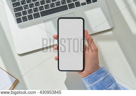 Unrecognizable Female Person Hold Mobile Phone. Mockup Blank Screen Cellphone. Applications In Digit