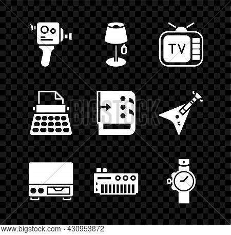 Set Retro Cinema Camera, Floor Lamp, Tv, Old Video Cassette Player, Music Synthesizer, Wrist Watch,