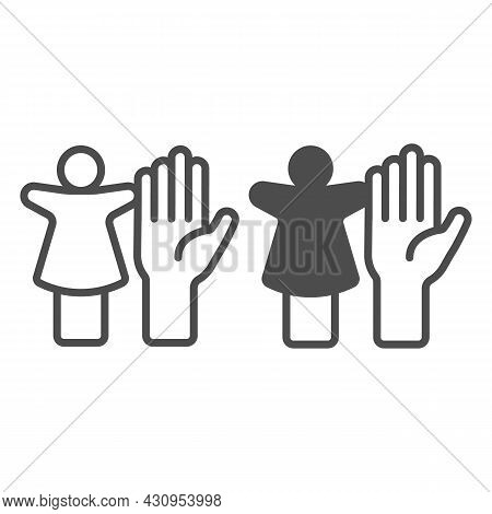 Puppet Doll And The Palm Of The Hand Line And Solid Icon, Theater Concept, Puppet Theatre Vector Sig