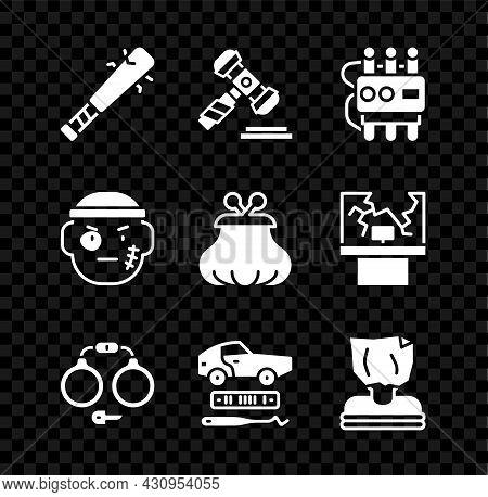 Set Baseball Bat With Nails, Judge Gavel, Dynamite And Timer Clock, Handcuffs, Car Theft, Kidnaping,