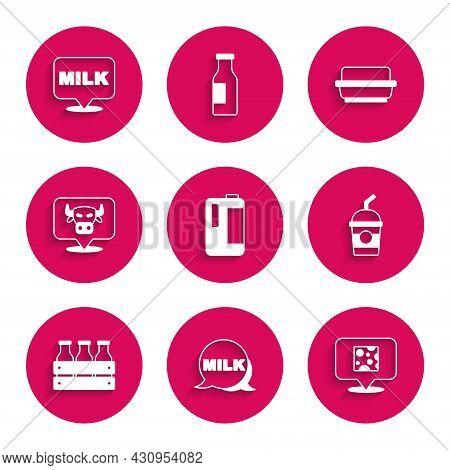 Set Milk In Plastic Bottle, Lettering Milk, Cheese, Milkshake, Bottled Wooden Box, Cow Head, Butter