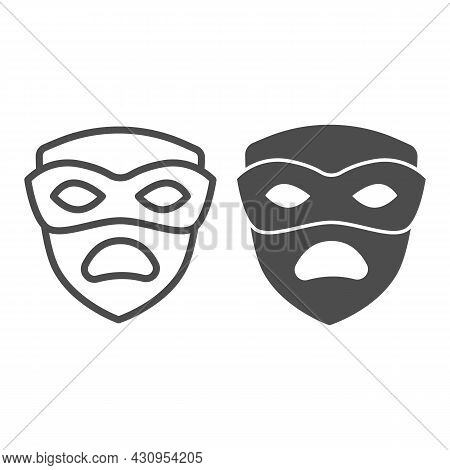Carnival Mask, Tragedy Mask, Sad Face Line And Solid Icon, Masquerade Concept, Drama Masque Vector S