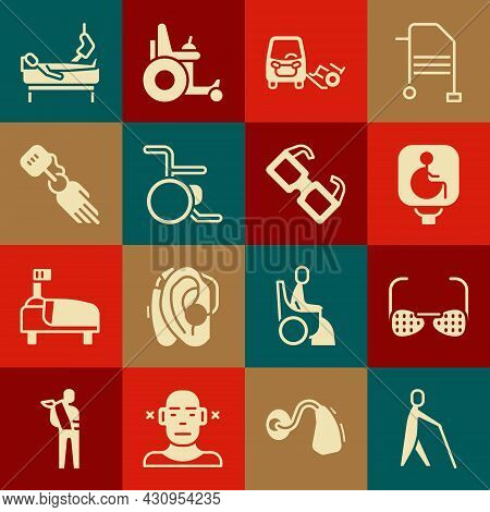Set Blind Human Holding Stick, Glasses, Disabled Wheelchair, Car, Wheelchair, Prosthesis Hand, Patie