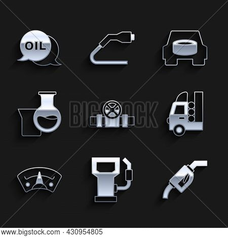 Set Metallic Pipes And Valve, Petrol Or Gas Station, Gasoline Pump Nozzle, Tank For Vehicle, Motor G