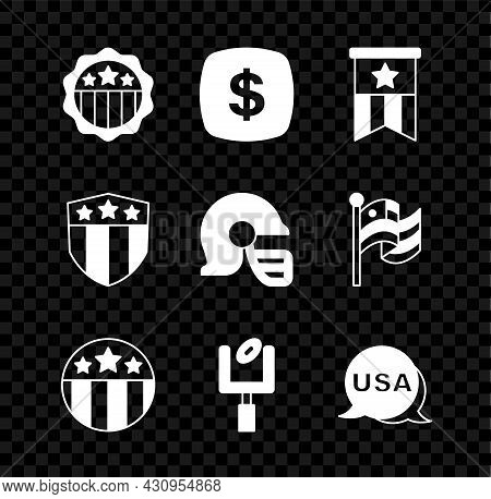 Set Usa Independence Day, Dollar Symbol, American Flag, Medal With Star, Football Goal Post, Shield