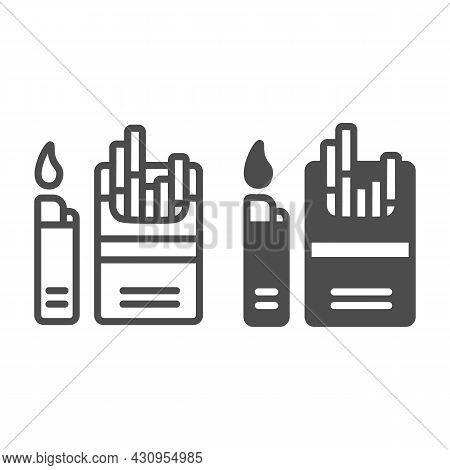 Pack Of Cigarettes With Lighter Line And Solid Icon, Tobacco Concept, Sigs, Tobacco, Siggies Vector