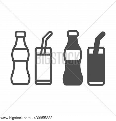 Soda Bottle With Glass And Straw Line And Solid Icon, Beverage Concept, Soft Drink Vector Sign On Wh
