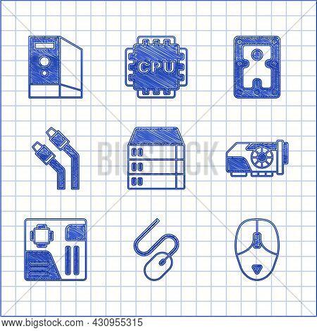 Set Server, Data, Web Hosting, Computer Mouse, Video Graphic Card, Motherboard Digital Chip, Lan Cab