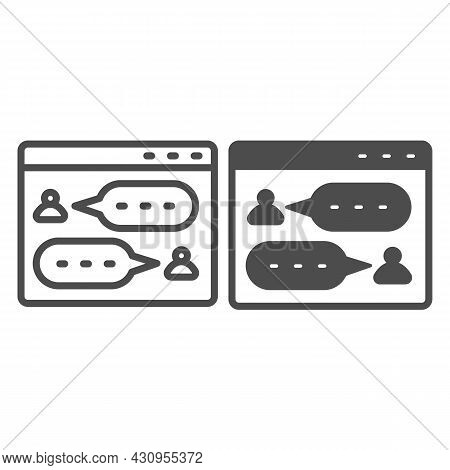 Messenger, Dialog Window, User Chat, Texting Line And Solid Icon, Social Network Concept, Sms Vector