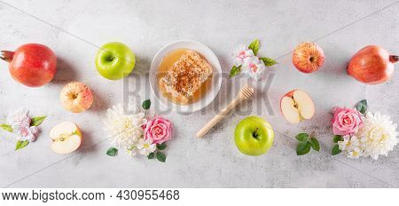 Rosh Hashanah (jewish New Year Holiday), Concept Of Traditional Or Religion Symbols On Stone Backgro