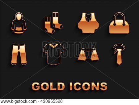 Set T-shirt, Handbag, Tie, Men Underpants, Pants, Undershirt, Hoodie And Socks Icon. Vector