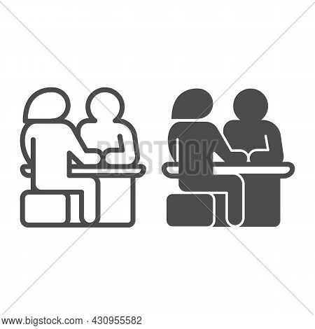 Couple Sitting At The Table, Date Line And Solid Icon, Dating Concept, Man And Woman Dating Vector S