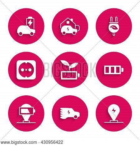 Set Eco Nature Leaf Battery, Electric Car, Charging Parking Electric, Battery Charge, Electrical Out