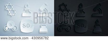 Set Sulfur Dioxide So2, Microscope, Alcohol Or Spirit Burner, And Molecule Icon. Vector