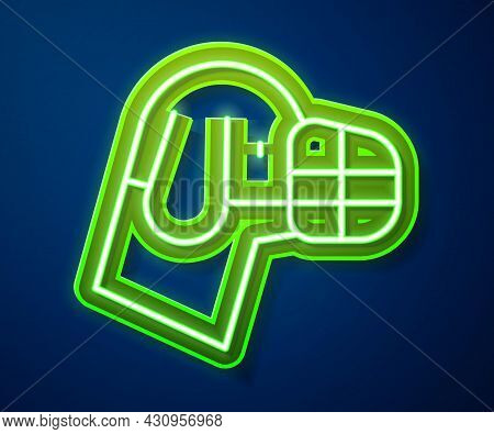Glowing Neon Line Dog In Muzzle Icon Isolated On Blue Background. Accessory For Dog. Vector