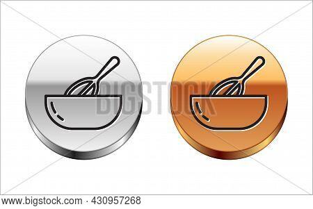 Black Line Kitchen Whisk And Bowl Icon Isolated On White Background. Cooking Utensil, Egg Beater. Cu