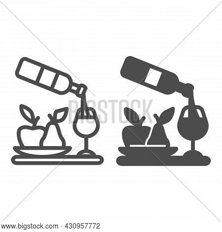Wine Pouring, Bottle, Wineglass, Bowl Of Fruits Line And Solid Icon, Catering Concept, Serving Vecto