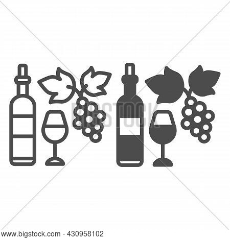 Wine Bottle, Glass And Bunch Of Grapes Line And Solid Icon, Winery Concept, Full Wineglass Vector Si
