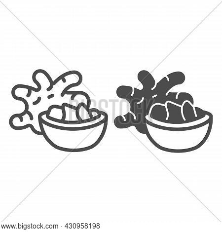 Jerusalem Artichoke Tuber And Ginger Bowl Line And Solid Icon, Asian Food Concept, Girasol Vector Si