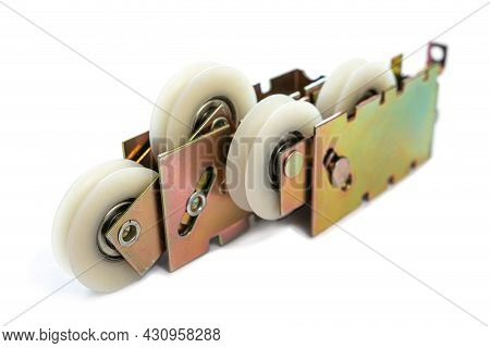 Plastic Wheel, These Wheels Are Fitted On Glass Sliding Doors Or Windows Isolated On A White Backgro