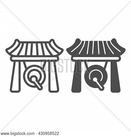 Japanese Gazebo, Gong And Wooden Roof Line And Solid Icon, Architecture Concept, Asian Povilion Vect