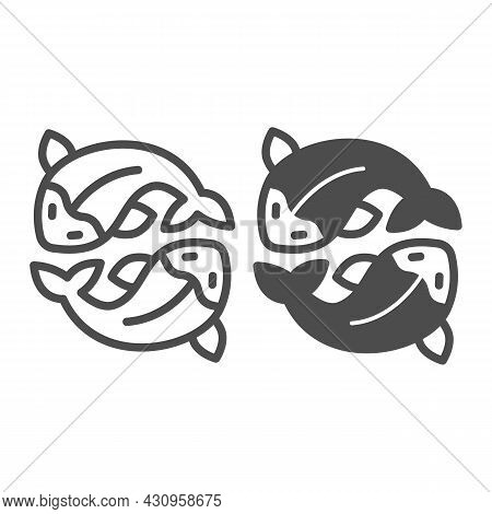 Two Salmon, Fresh Fish, Japanese Koi, Carp Line And Solid Icon, Asian Culture Concept, Goldfish Vect