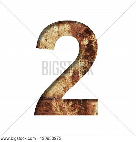 Rusty Iron Digits. Digit Two, 2 Cut Out Of Paper On The Background Of An Old Rusty Iron Sheet With R