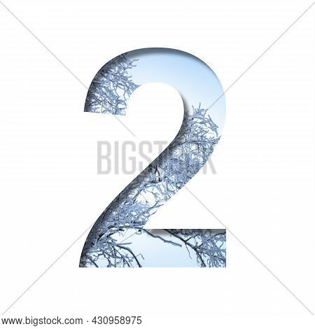 Winter Digits. Digit Two, 2 Cut Out Of Paper On The Background Of The Winter Sky And Snow-covered Tr
