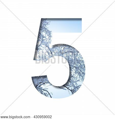 Winter Digits. Digit Five, 5 Cut Out Of Paper On The Background Of The Winter Sky And Snow-covered T