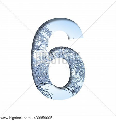 Winter Digits. Digit Six, 6 Cut Out Of Paper On The Background Of The Winter Sky And Snow-covered Tr