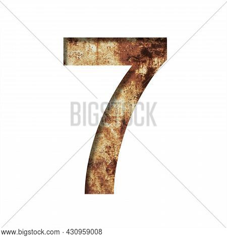 Rusty Iron Digits. Digit Seven, 7 Cut Out Of Paper On The Background Of An Old Rusty Iron Sheet With