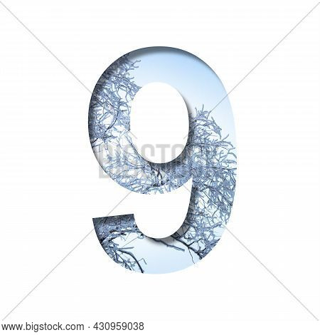 Winter Digits. Digit Nine, 9 Cut Out Of Paper On The Background Of The Winter Sky And Snow-covered T
