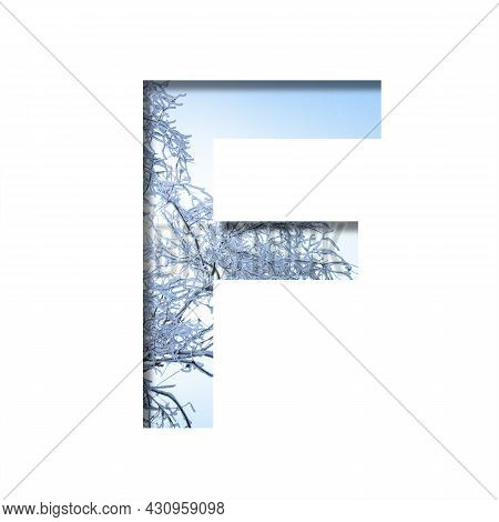 Winter Letters. The Letter F Cut Out Of Paper On The Background Of The Winter Sky And Snow-covered T