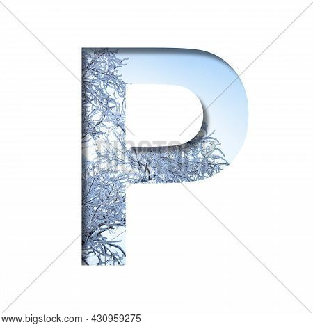 Winter Letters. The Letter P Cut Out Of Paper On The Background Of The Winter Sky And Snow-covered T