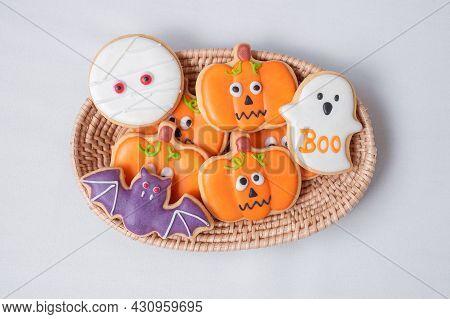 Halloween Funny Cookies In Wooden Basket. Trick Or Threat, Happy Halloween, Hello October, Fall Autu