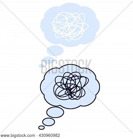 Speech Bubble. Expression Of Emotion And Dialogue. Cartoon Illustration. Confused Thoughts. Tangled