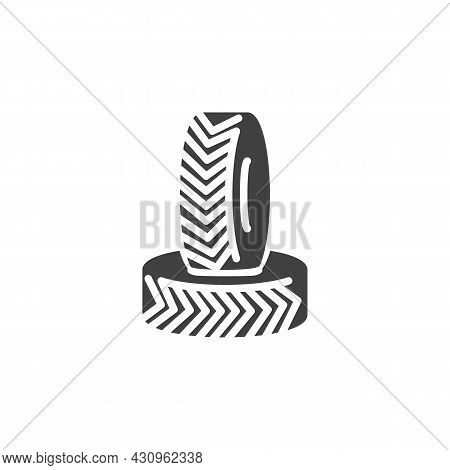 Car Wheel Tyre Vector Icon. Filled Flat Sign For Mobile Concept And Web Design. Car Tyre Glyph Icon.