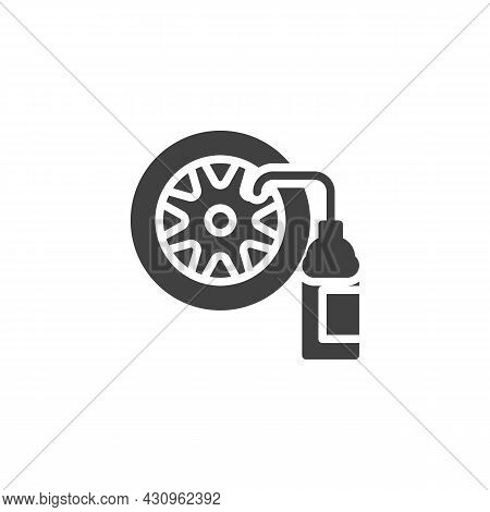 Car Tyre And Nitrogen Bottle Vector Icon. Filled Flat Sign For Mobile Concept And Web Design. Wheel