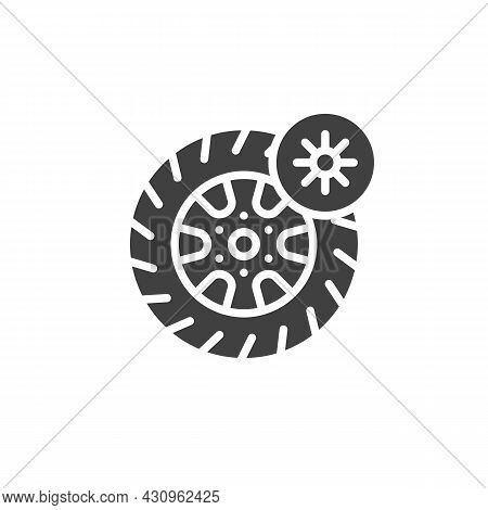 Summer Tyre Vector Icon. Filled Flat Sign For Mobile Concept And Web Design. Summer Season Wheel Gly