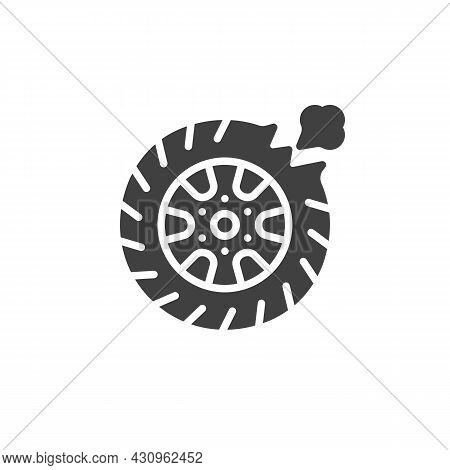 Car Tire Leak Vector Icon. Filled Flat Sign For Mobile Concept And Web Design. Flat Tyre Glyph Icon.