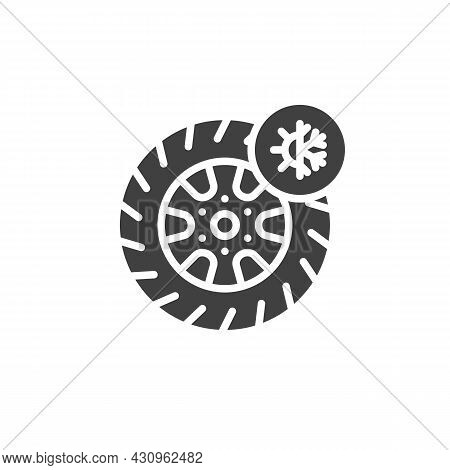 All Season Tyre Vector Icon. Filled Flat Sign For Mobile Concept And Web Design. Summer And Winter T