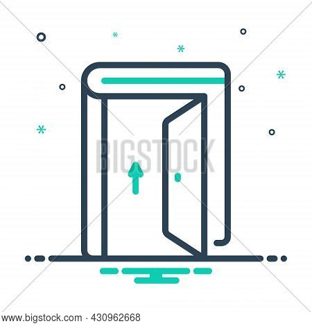 Mix Icon For Admission Door Gate Exit Egress Gateway Entrance Entry Penetration Ingress