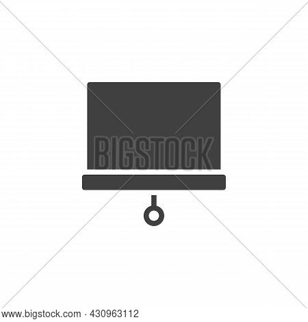 Projector Screen Vector Icon. Filled Flat Sign For Mobile Concept And Web Design. Presentation White