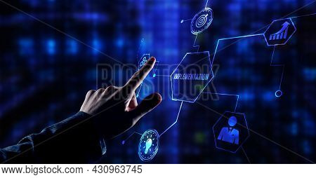 Internet, Business, Technology And Network Concept. Implementation, Web Technology Concept.