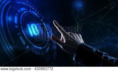 Internet Of Things - Iot Concept. Businessman Offer Iot Products And Solutions. Internet, Business,