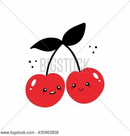 Couple Of Cute Cartoon Style Cherry Characters Vector Icon, Illustration For Food And Nature Design.
