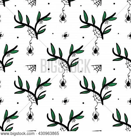 Spiders Hanging On Spider Web On Branches With Green Leaves Vector Seamless Pattern Background.