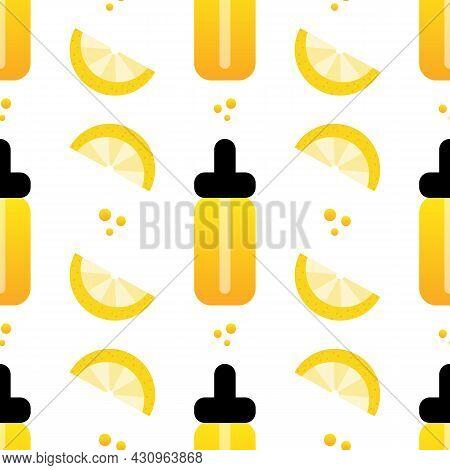 Vitamin C Serum Bottles, Beauty Drops, Lemon Slices, Vector Seamless Pattern Background.