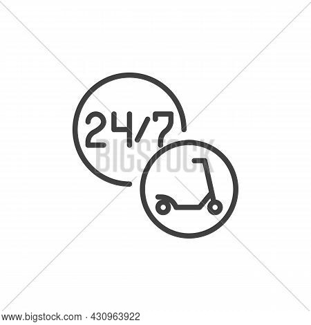 24-hour Scooter Sharing Service Line Icon. Linear Style Sign For Mobile Concept And Web Design. Elec